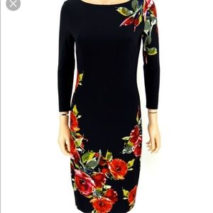 CACHE Sheath Dress Black Red Roses Print Bodycon